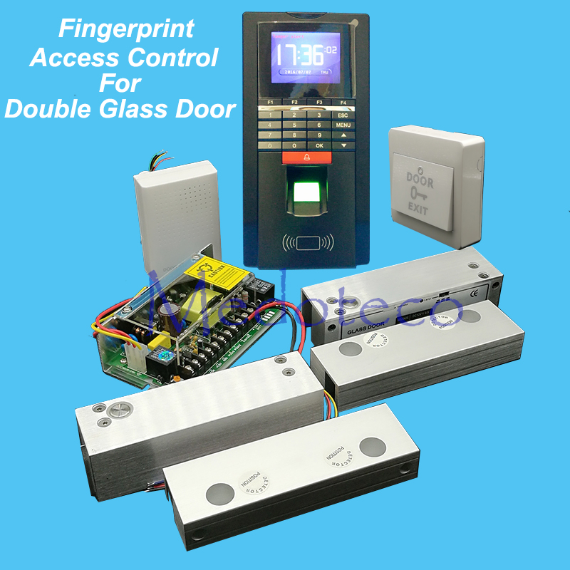 DIY Full Frameless Double Glass Door Access Control Kit Fingerprint Access Controller + Two Electric Bolt Lock + Power Supply raykube glass door access control kit electric bolt lock touch metal rfid reader access control keypad frameless glass door