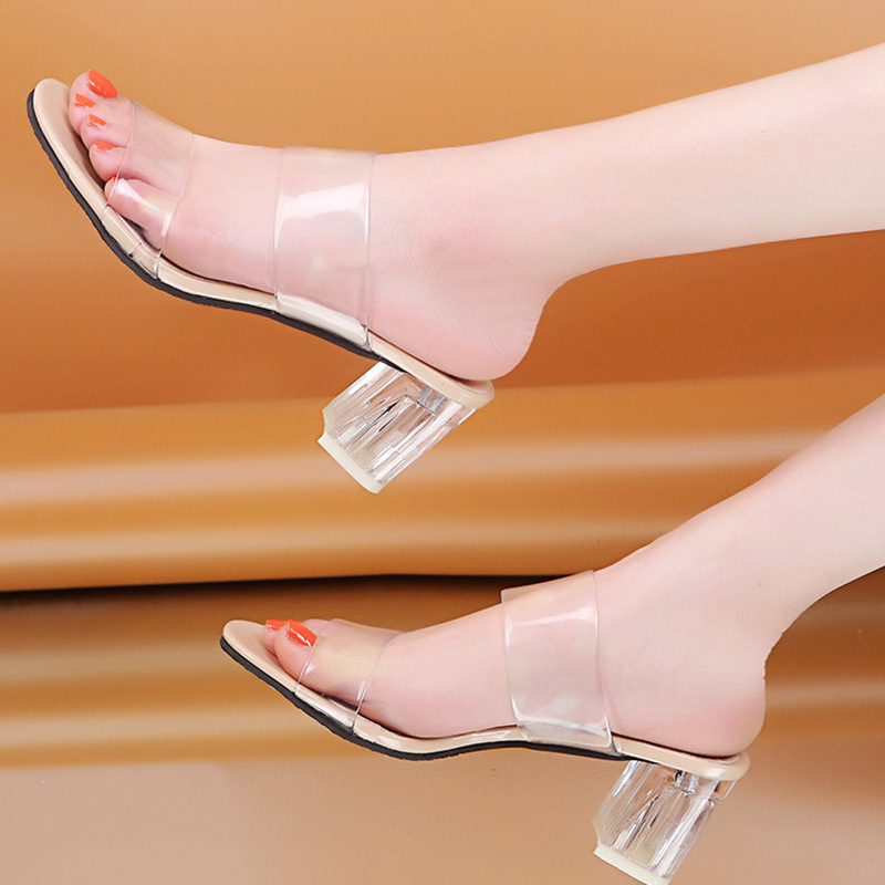 2019 Clear Heels Slippers Women Sandals Summer Shoes Woman Transparent Shoes Square High Heels Pumps Jelly Sandals buty damskie in High Heels from Shoes