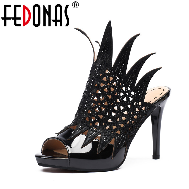 FEDONAS Women Sandals Fashion Summer Gladiator Sandals Woman Genuine Leather Shoes Super High Heels Party Wedding Shoes Woman fedonas new women gladiator sandals wedges high heel fashion ladies glitters wedding party shoes woman platforms summer sandals