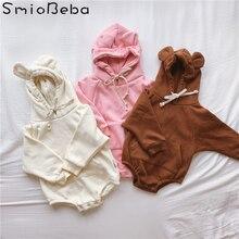 2019 Baby Girl Clothes Bodysuits Cute Little Bear Ears Plus Velvet Clothing Children Pink Bodysuit