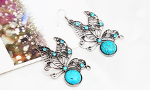 New Fashion Vintage Tone Animal Butterfly Jewelry Sets Turquoise Earrings Necklace Fashion Jewelry Women Accessories E919N420