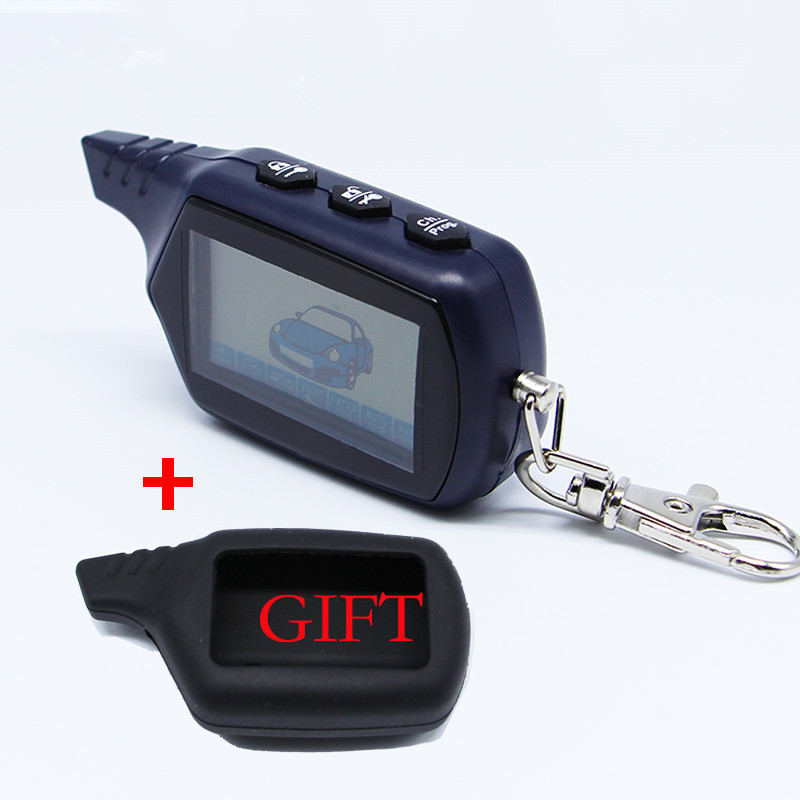 Keychain B9 Starline LCD Remote Controller For Two Way Car Alarm Starline B9 Twage Keychain alarm auto + silicone case