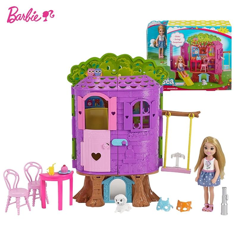 Original Barbie Schöne Mini Puppe Spielzeug Barbie Club Chelsea Treehouse Mit Rutsche Und Schaukel Beste Spielzeug Geburtstag Geschenk Für Mädchen FPF83