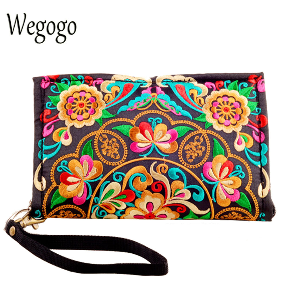 Coin Purse Embroidery Evening-Clutch Vintage Bags Card-Holder Zipper Female Women's Wallets
