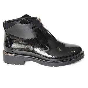 Image 3 - XAXBXC 2019 レトロ英国冬黒 Pu レザージッパー Brogues ショートアンクルブーツ暖かい女性ブーツ手作りカジュアル婦人靴