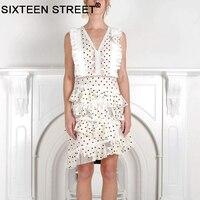 New Summer woman white dress dot lace hollow out sleeveless v neck lady short dresses asymmetric seaside wear vestido