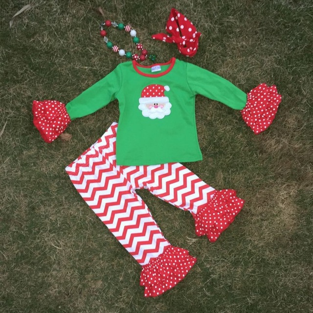 Las muchachas del bebé de la navidad muchachas de la ropa de Santa verde trajes niños red chevron ruffle pant establece la embroma la camiseta larga fija con accesorios