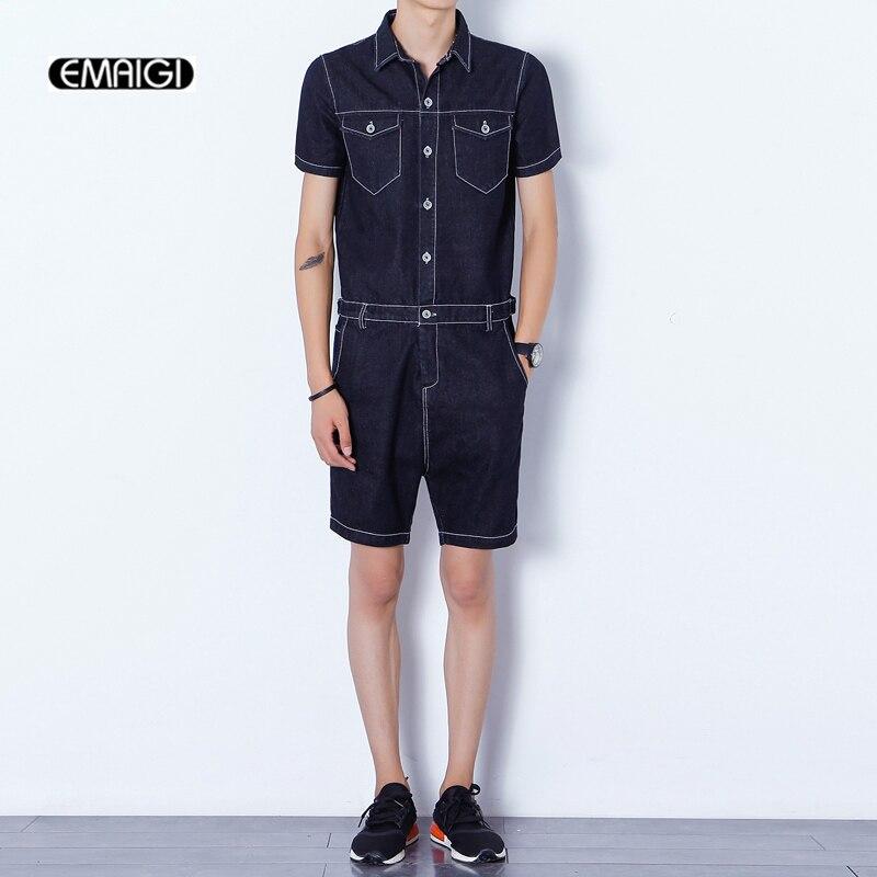 Summer new men rompers harem shorts men zipper fashion casual denim shorts jeans jumpsuits slim fit