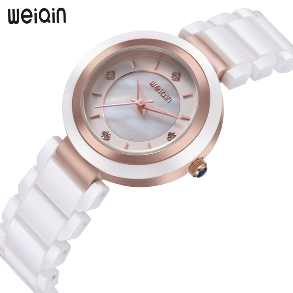 WEIQIN New Luxury Ceramic Bracelet Watch Women Quartz Rose Gold Watch Ladies Wrist Watches Pink White Women Watches Clock Women weiqin new 100