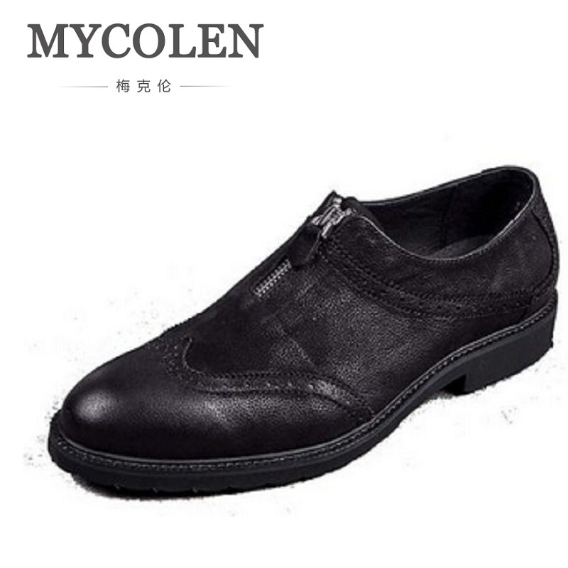 MYCOLEN New Arrival Black Men Dress Shoes Slip On Handmade Loafers Men-Leather-Shoes-Genuine-Leather Chaussures Homme Cuir new 2017 men s genuine leather casual shoes korean fashion style breathable male shoes men spring autumn slip on low top loafers