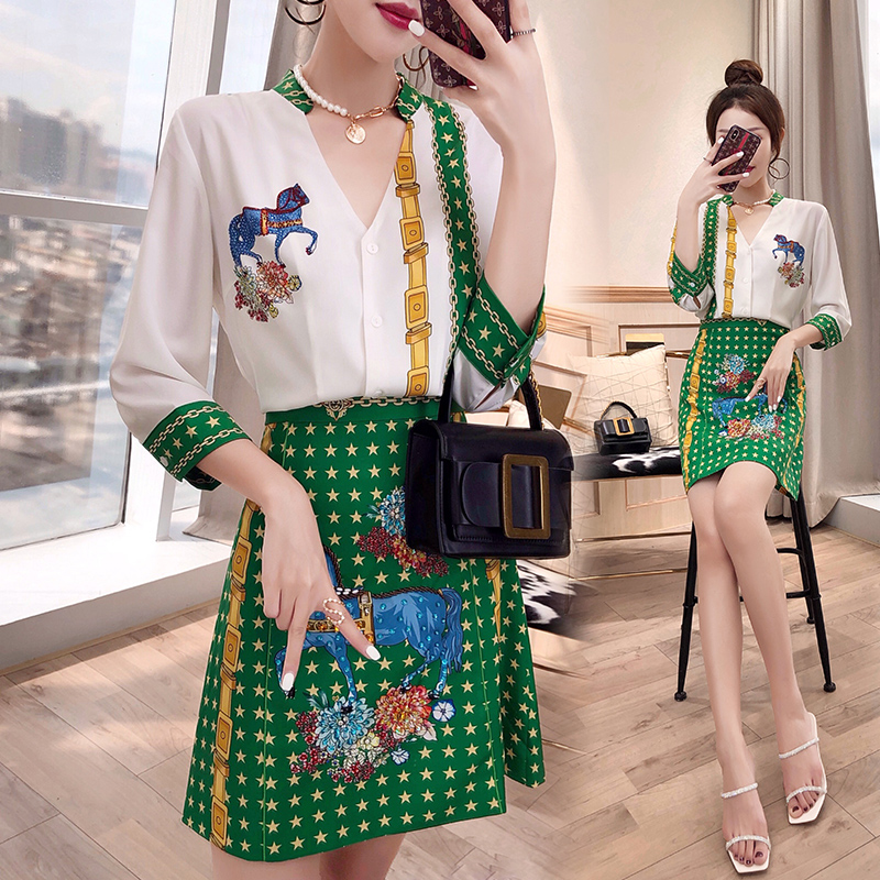 New Women Spring Summer Clothing Set Fashion Runway Vintage Floral Print Shirts Green V Neck Blouse Skirts Suit Sets NS983