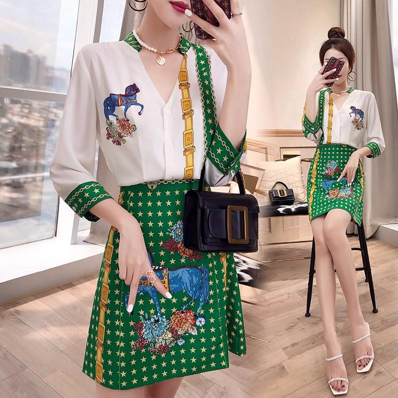 New Women Spring Summer Clothing Set Fashion Runway Vintage Floral Print Shirts Green V Neck Blouse Skirts Suit Sets NS983