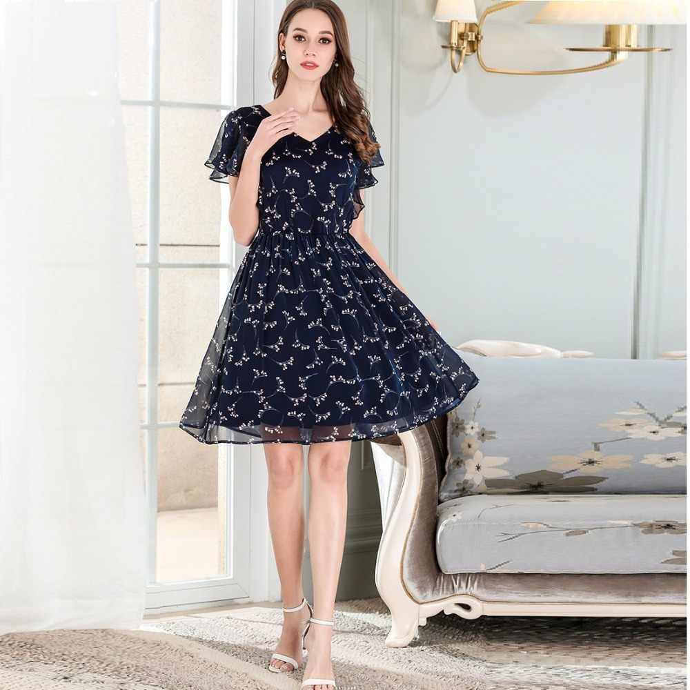 2018 summer fashion ladies elegant cute floral chiffon dress pinched waist  v neck cultivating casual vestido plus size m-xxxxxl