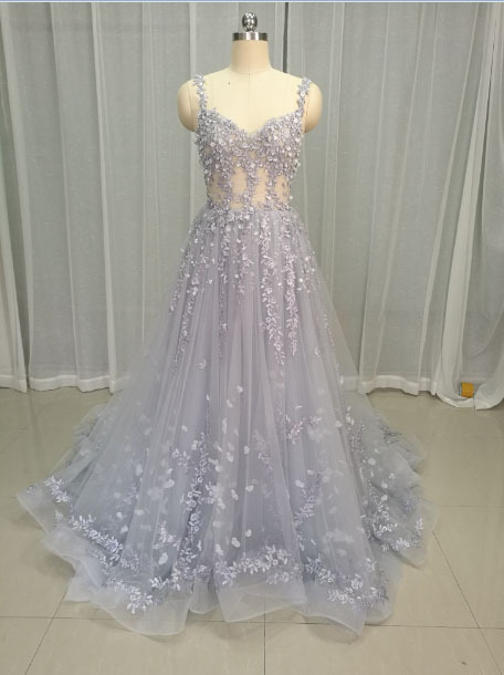 09deb1c204 US $230.57 40% OFF|Hot Sale Gorgeous Prom Dresses 2019 Long Train A line  Lace Appliques Sleeveless Evening Party Dress Formal Dress Robe de  Soiree-in ...