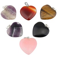 SUNYIK Crystal Heart Charm Pendant For Necklace Chakra Healing Stone Set Of 6