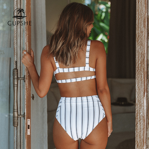 Image 2 - CUPSHE Boho Navy And White Vertical Stripe High Waist Bikini Sets 2020 Women Cutout Two Pieces Swimsuits