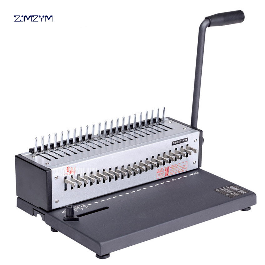 SD-1501A21 Office Machine Binding Machine Manual Combs/Clamps Binder for Binding A4 Paper Stapled 21 Holes Hole size 3*8 mm a4 size comb type binding machine mars 230 manual rubber ring clamp dual use machine 21 hole file punch binding machine 1pc