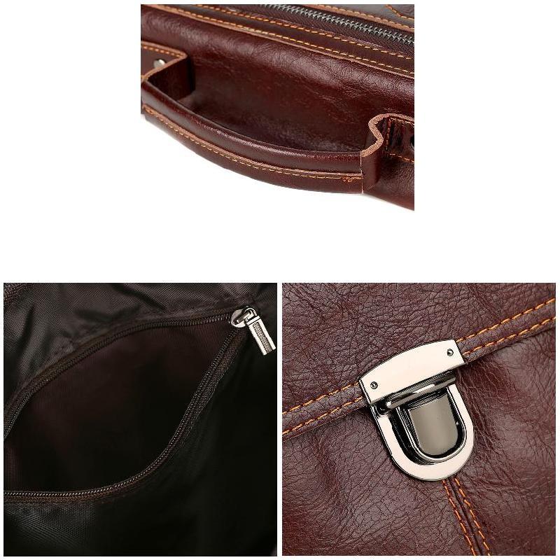 Men Genuine Leather Vintage Buckle Shoulder Bag Satchel Crossbody Bag WF 668