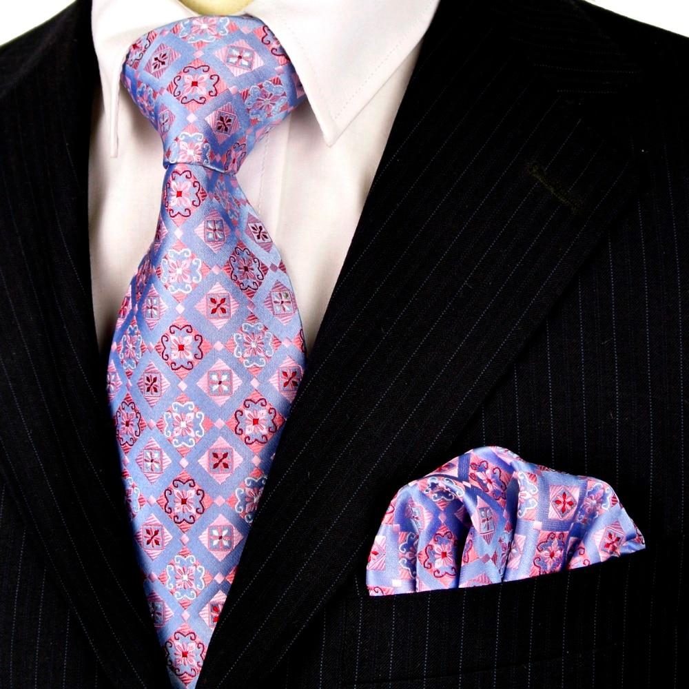 Neckties Set Checked Floral Purple Mauve Lilac Blue Black Mens Ties Handkerchief 100% Silk Jacquard Woven Free Shipping Fashion