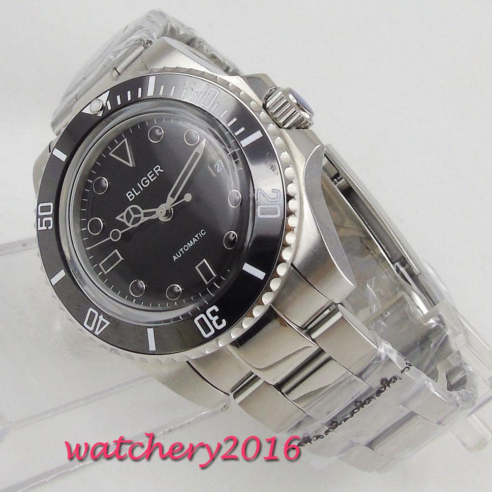40mm Bliger Black Dial ceramic bezel Glass Steel Case Automatic movement men's Watch