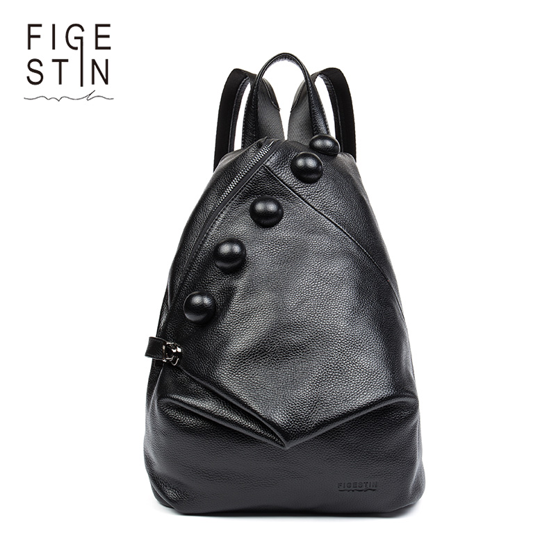 FIGESTIN Real Genuine Leather Women Backpack Ladies Laptop Backpack Casual School Bags For Girls 2017 Brand Female Shoulder Bags figestin real genuine leather women backpack ladies laptop casual school bags for girls 2017 brand female shoulder