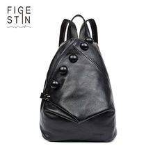 FIGESTIN Real Genuine Leather Women Backpack Ladies Laptop Backpack Casual School Bags For Girls 2017 Brand Female Shoulder Bags