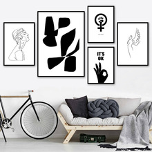 Abstract Woman Line Hand Love Nordic Posters And Prints Wall Art Canvas Painting Black White Pictures For Living Room Decor