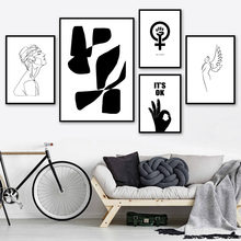 Abstract Woman Line Hand Love Nordic Posters And Prints Wall Art Canvas Painting Black White Wall Pictures For Living Room Decor(China)