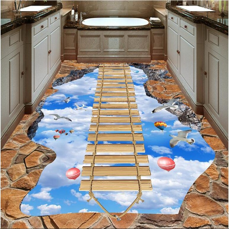 beibehang Custom large fresco walkway exhibition hall on the sky wooden bridge 3D floor thickened wear pvc plastic film флизелиновые обои fresco kj sparkle 2542 20704