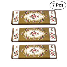 7 Pcs Classical Non-Slip Stair Treads Carpet Step Mats Anti-Skid Floor Staircase Carpets European Style Protector Mats (Rose01)(China)