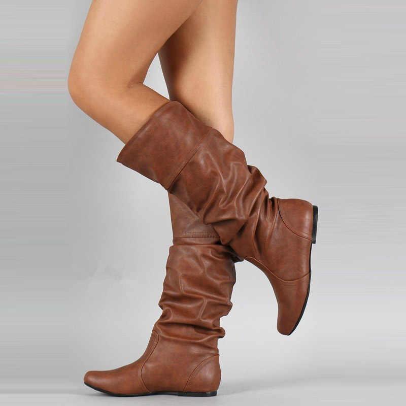 WETKISS Plus Size 34-48 Mid-kalf Laarzen Insert Hakken Vrouwen Geplooide Laarzen Vrouwelijke Ronde Neus Schoenen Platte schoenen Herfst Winter 2020