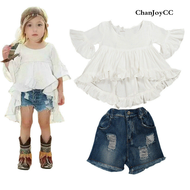 Baby Girls Summer Hot Sale fashion clothes kids  High-quality Speaker sleeves shirt+Denim shorts suit cotton two-piece sets