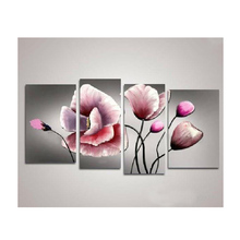 4 Pieces/set No frame Panel Picture Hand-painted oil painting on canvas Flowers decoration set