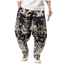 New Cool Cross-Pants Male Hip Hop Fashion Baggy Cotton Linen Harem Pants Men Punk Plus Size Wide Leg Trousers Loose Casual Pants summer sexy loose denim pants women s boyfriend harem pants casual jeans pants plus size baggy trousers fashion cross pants 3xl