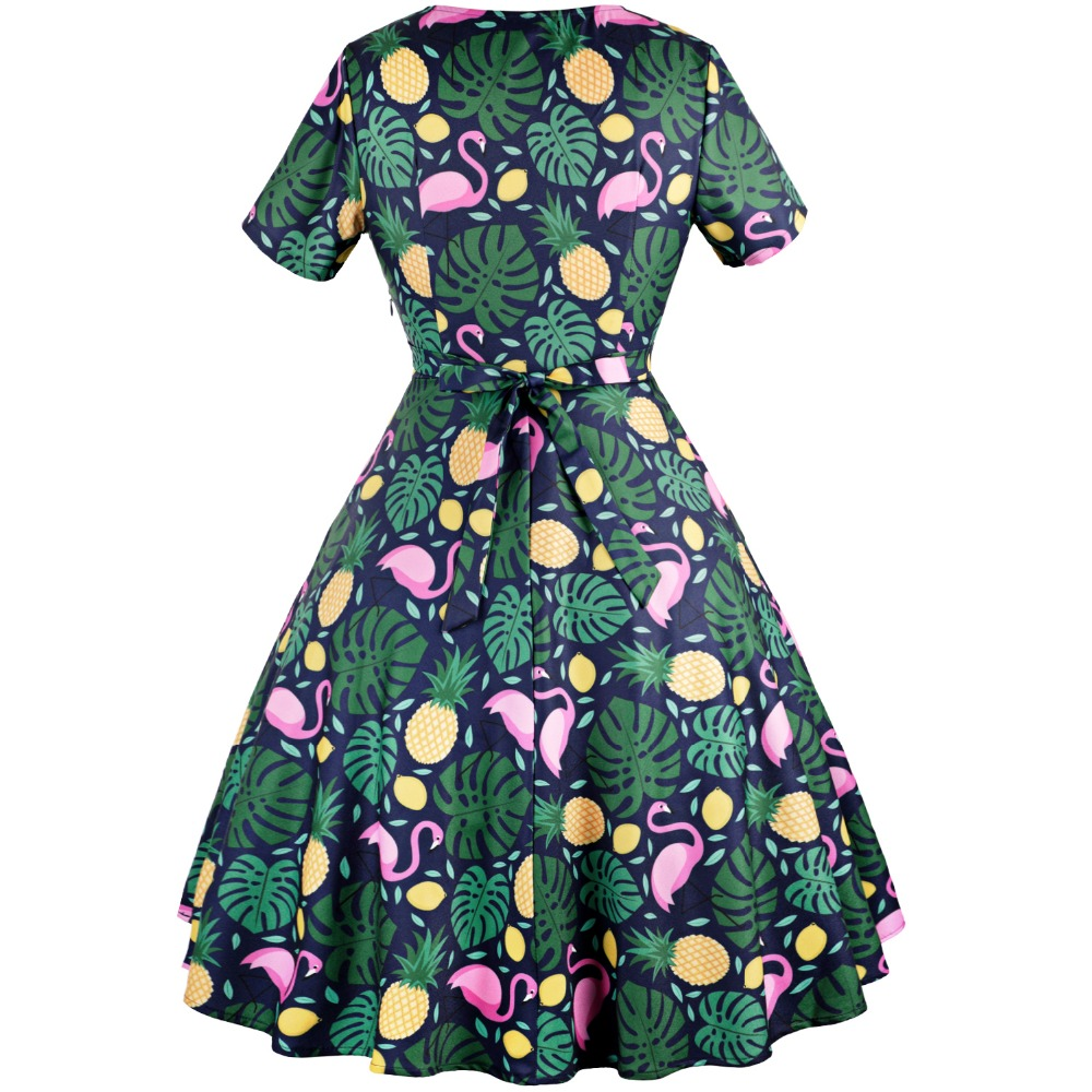 MisShow 2018 Summer Green Flamingo Printed Woman Vintage Dresses Short  Sleeve 3XL Plus Size 1950s Party V Neck Dresses Vestidos-in Dresses from  Women s ... 67e29bb7eef8