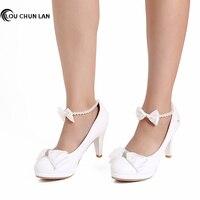 LOUCHUNLAN Women High Heels White Lace Flowers Pearl Bowtie Women Pumps Shoes Wedding Soes Dress Shoes Party Fashion Woman Shoes