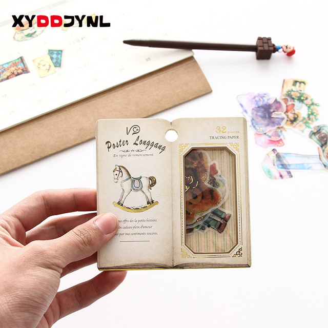 1 paquete/32 pc creativo Retro papelería pegatina paquete DIY diario Scrapbooking pegatinas Linda decoración diario pegatinas