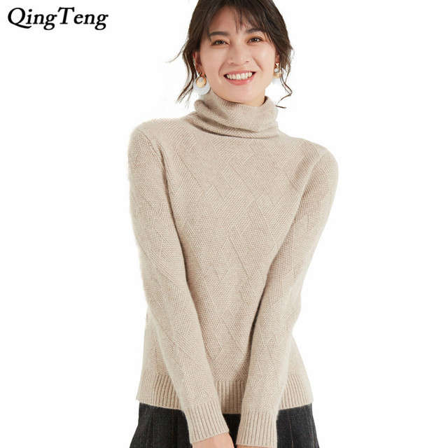 788ce30a395c6e Women's Cashmere Sweater Cable Knit Sought-after Design Classic Soft Winter  Pullovers Fashion Warm Open-stitch Rib Trims Jumper