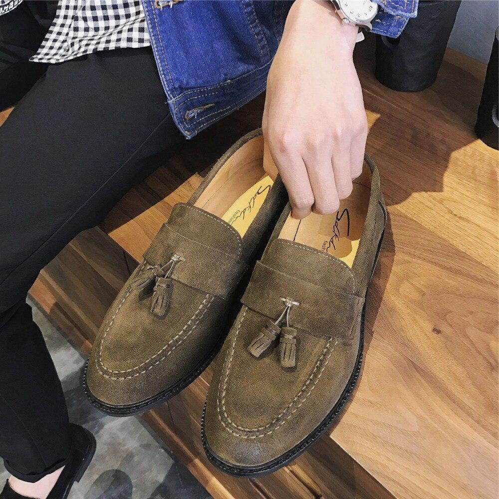 Hommes nouveau cuir slip on natté Mocassin Mocassins Chaussures Noir//Tan 6 To 12