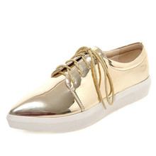 Plus size 33-43 2016 Spring lace-up Woman Spring knot fashion Flats Casual Ladies Loafers Solid Creepers party rubber soles flat