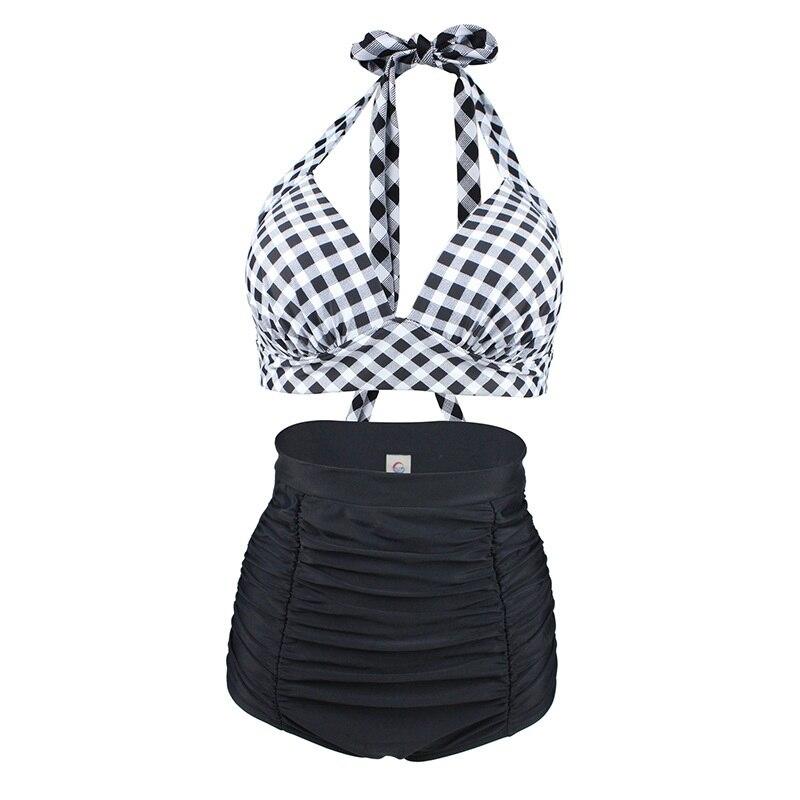 cbf144b7f585c 2018 High Waist Swimsuit Plus Size Swimwear Retro 50s Vintage Carnival  Lattice Classic Bikini Sete Swimwear