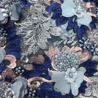 3D шифон французский Тюль Кружево Ткань s Тяжелых Ручной работы Бусины на сетчатой ткани свадебное платье с вышивкой 15 ярдов/партия RG419