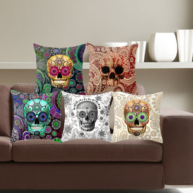 Paisley Skull Cushion Cover Bohemian Pillowcase Square Car-Cushions Invisible Zipper Home Decor Sofa Throw Pillow Cover