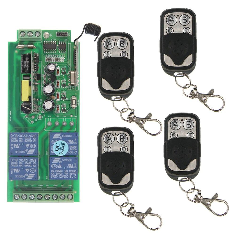 10A AC 85-265 V 4CH 4 CH sans fil RF télécommande commutateur émetteur récepteur système pour système de commande d'éclairage LED universel