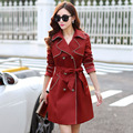 2016 New Autumn Winter Fashion Street Women's Solid Wool Blend Trench Coat Casual Long Outerwear Loose Size Cotton Overcoat