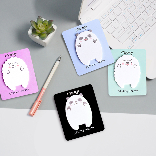 1 pc Ovelhas Kawaii Panda Forma Notas Pegajosas Adesivos Memo Pad Papel Deixe Mensagem de Papel Suprimentos de Papelaria Escola Escritório Em Casa
