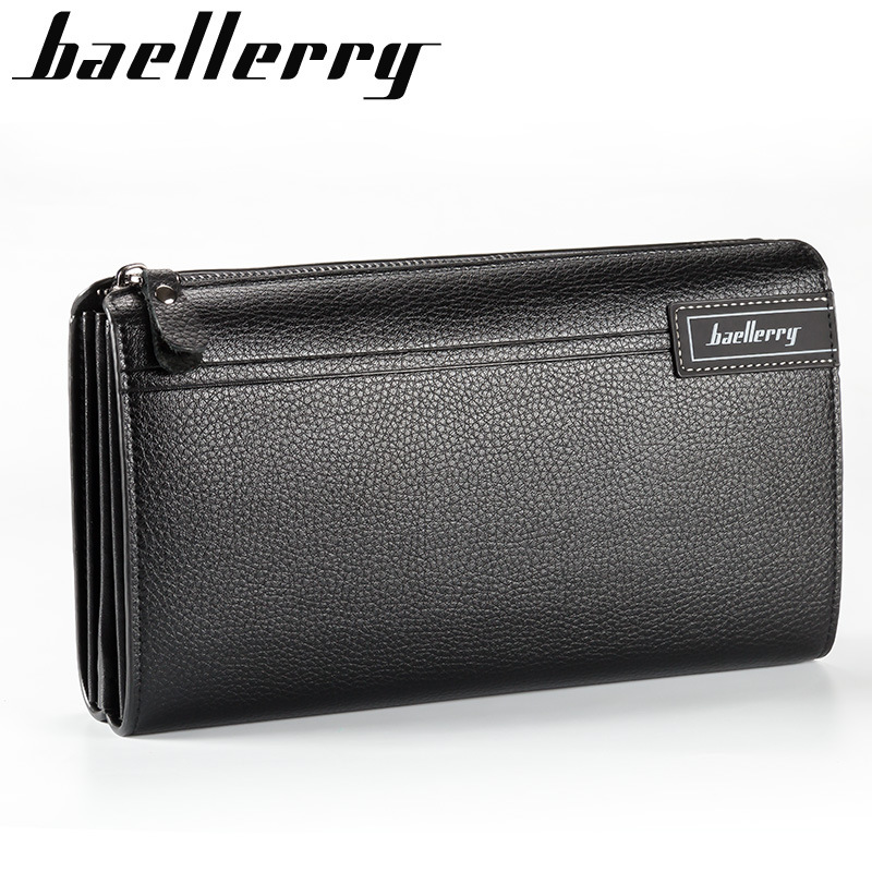 Baellerry Famous Brand Men Wallet Luxury Long Clutch Handy Bag Moneder Male Leather Purse Men's Clutch Bags carteira Masculina baellerry business wallet clutch long men purse hot sale card holder designer hand bags for man handy bags bid162 pm49