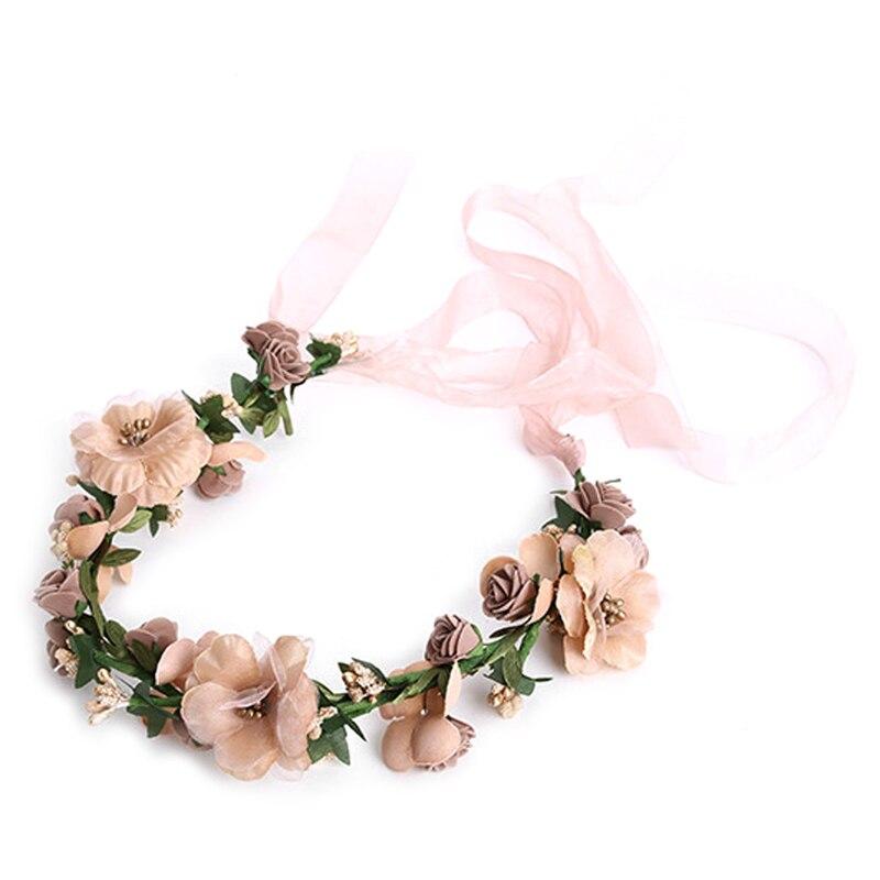BELLYQUEEN Trendy Women Wedding Tiaras Hair Accessories Flower Hair Garland Crown Headband Floral Wreath Hairband Bridal