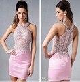 Dressgirl Pink Cocktail Dresses 2017 Sheath Halter See Through Satin Appliques Lace Beaded Short Mini Homecoming Dresses