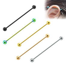 2 Pieces Long Industrial Barbell Fashion 14G/1.6m 50mm Ear Ring Piercing 5 Colors Earrings Piercing Barbell Punk Gothic Jewelry(China)